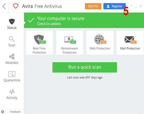 how to activate avira